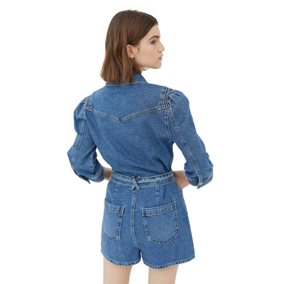 BV-009 Custom Make Good Quality Urban Women Blue Jeans Jumpsuit