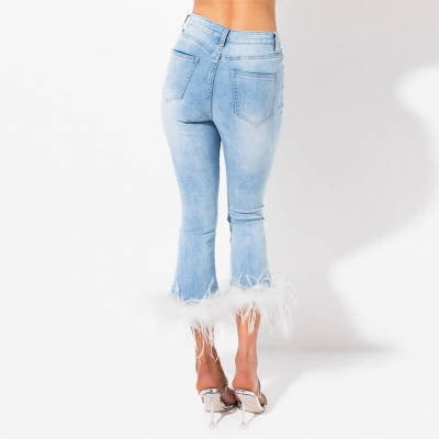 BV-013 Custom Cropped Flare Ankle Length Jeans Pants