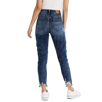 BV-210 New Style Ripped Dark Blue Cropped Mom Jeans