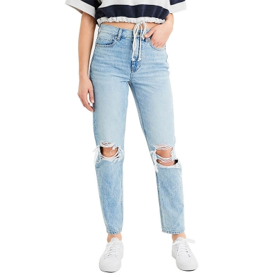 BV-211 Cheap Price Distressed Light Blue Ripped Mom Fit Jeans Pants