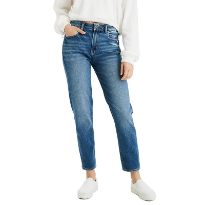 BV-212 Custom Make Latest Women Fashion Ripped Slim Fit Midium Blue Denim Jeans