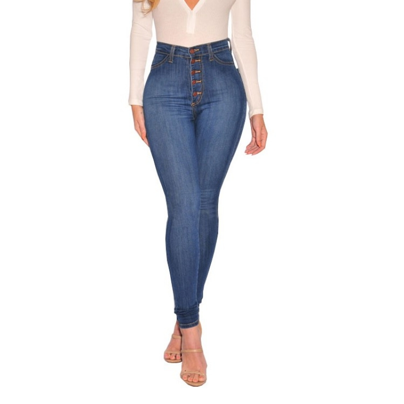 Lady's high rise skinny fit button fly jeans