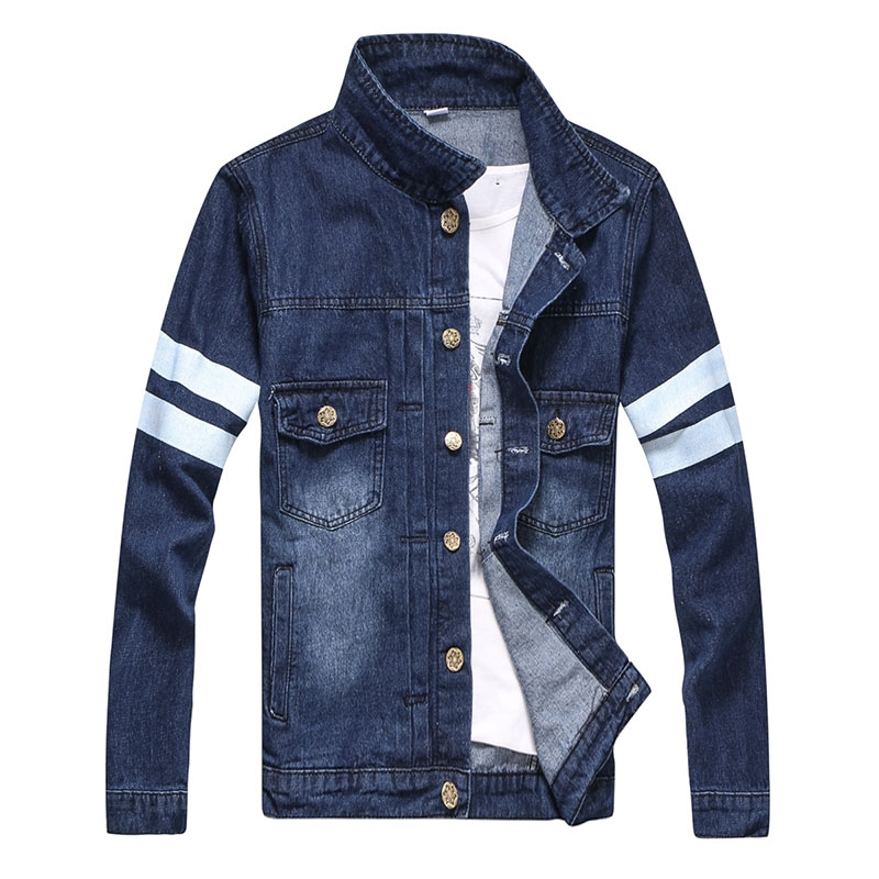 Back print man's blue denim jacket with buttons