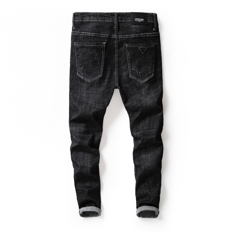 DQ-3607 Men fashion black ripped and patched jeans for autumn