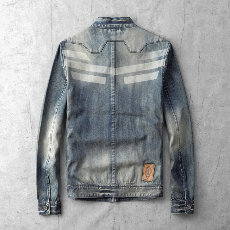 High quality man's fashionable denim jeans zipper fly with print