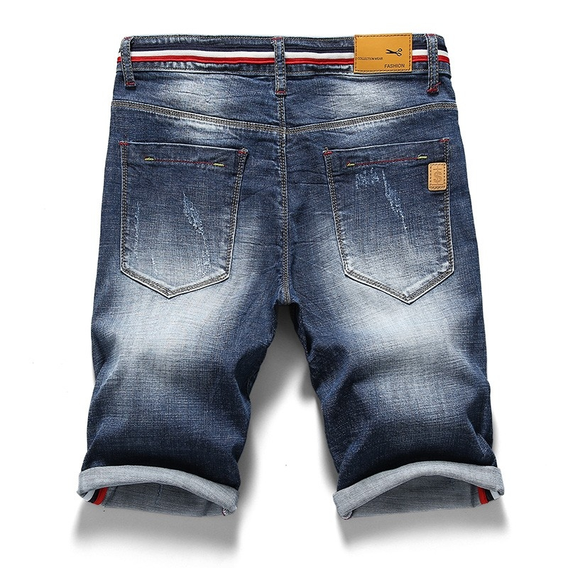 PG-328 Man's ripped fashion blue denim short size 29-38
