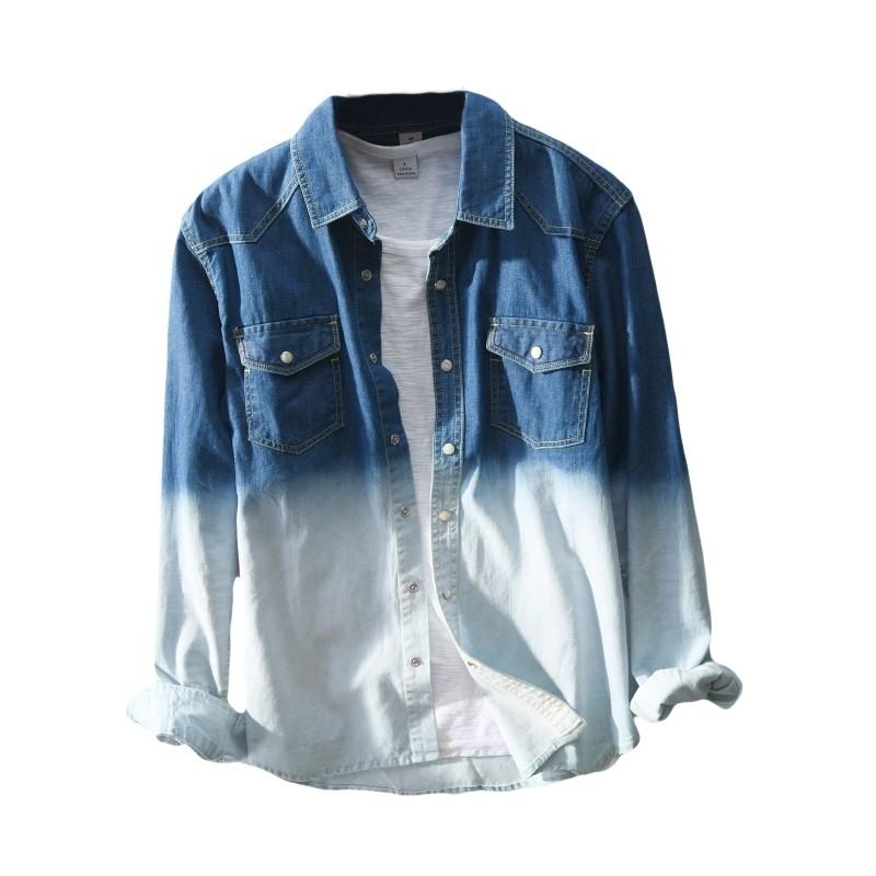 JJ-367 Man light blue denim shirt size M-3XL