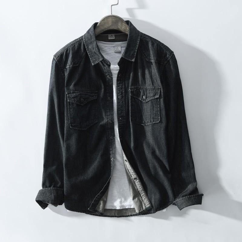 JJ-369 Man fashion denim shirt blue and black color offered size M-3XL