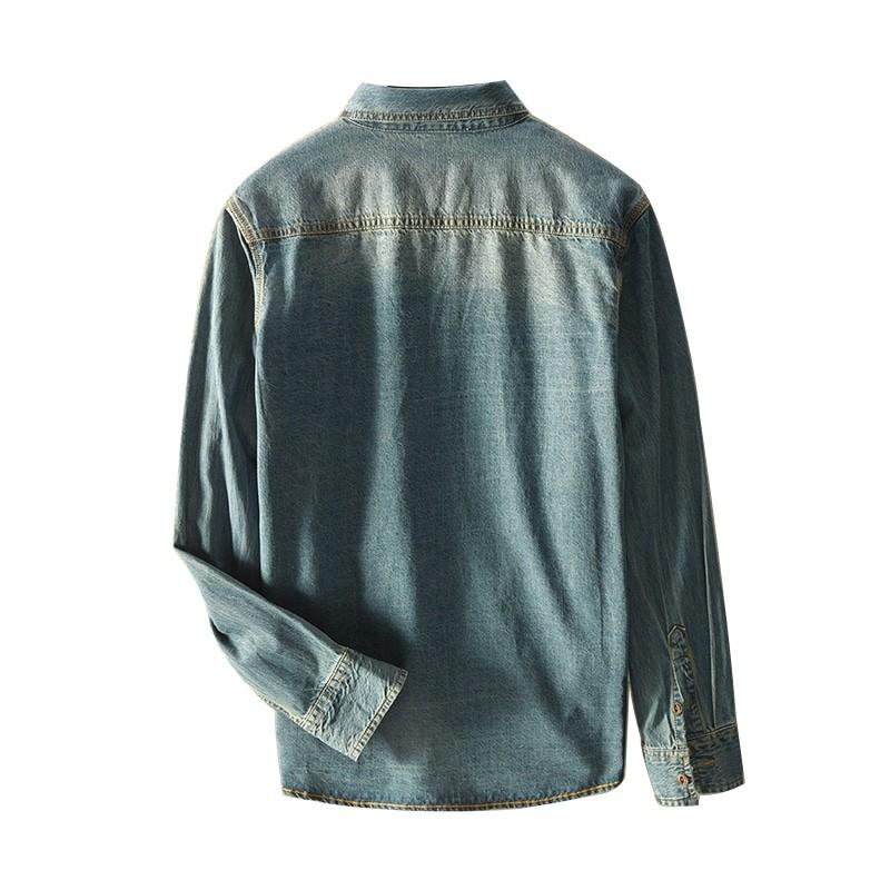 JJ-375 Man slim fit denim shirt vintage light blue and medium blue offered size M-3XL