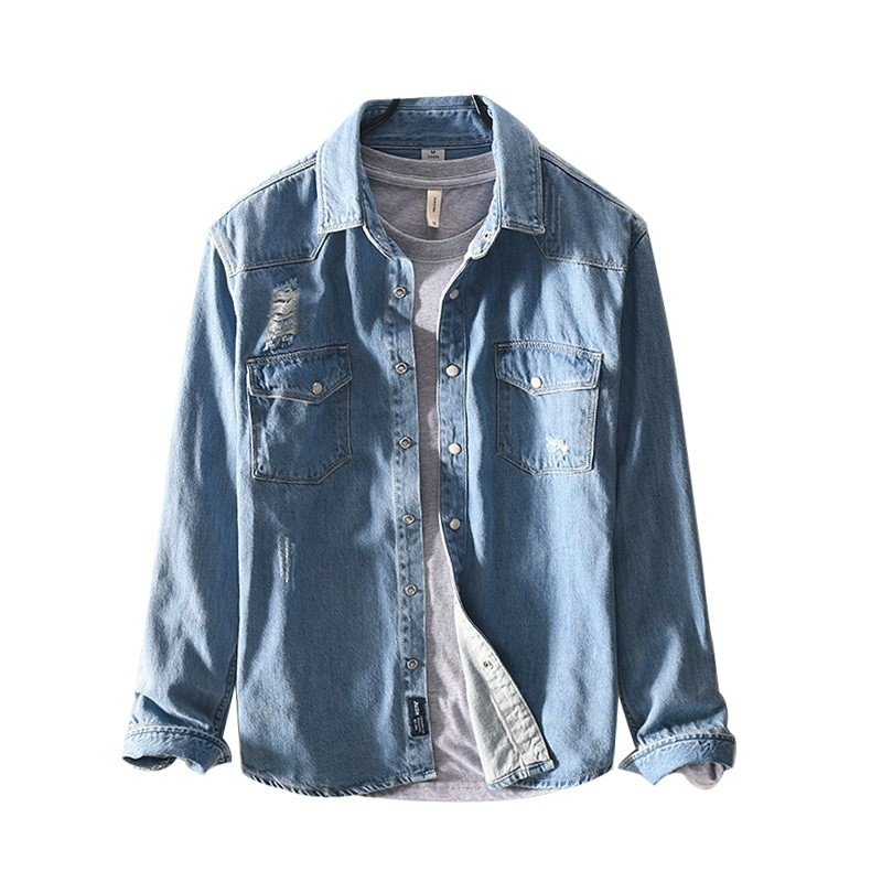 JJ-376 Men fashion jeans shirt light blue and dark blue offer size M-3XL
