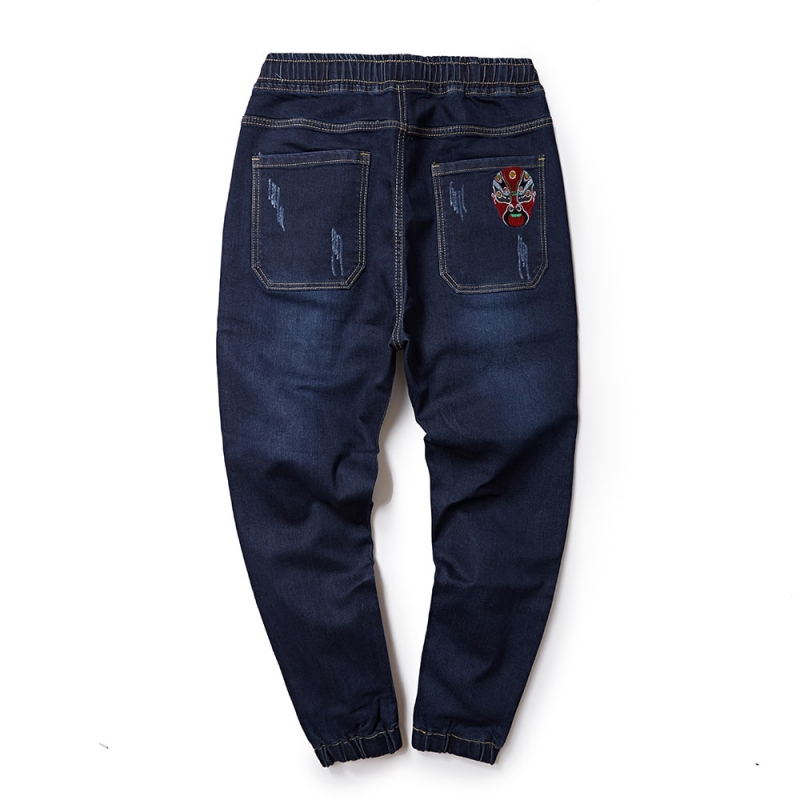 DJ-095 Men fashion denim pants with elastic waistband plus size offered M-8XL