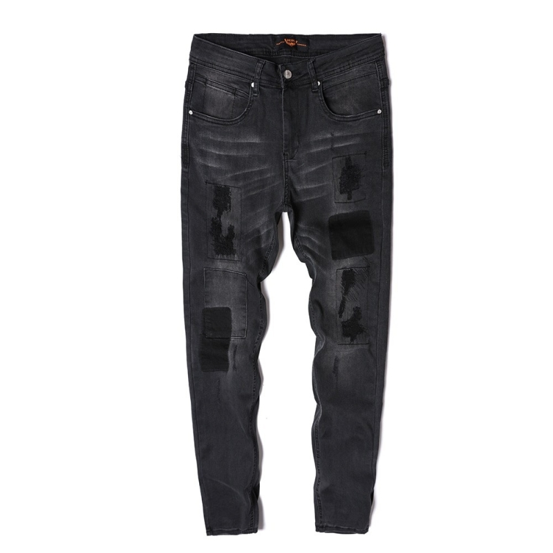 DX-04 Men black ripped denim jeans skiny fit size 29-38