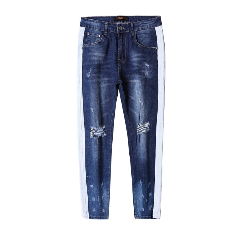 DX-02 Men fashion ripped knee jeans with stripe at side 29-38