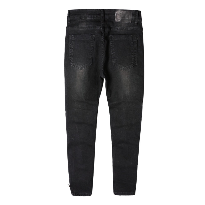DX-03 Men ripped fashion black denim jeans with zipper at ankle size 29-38