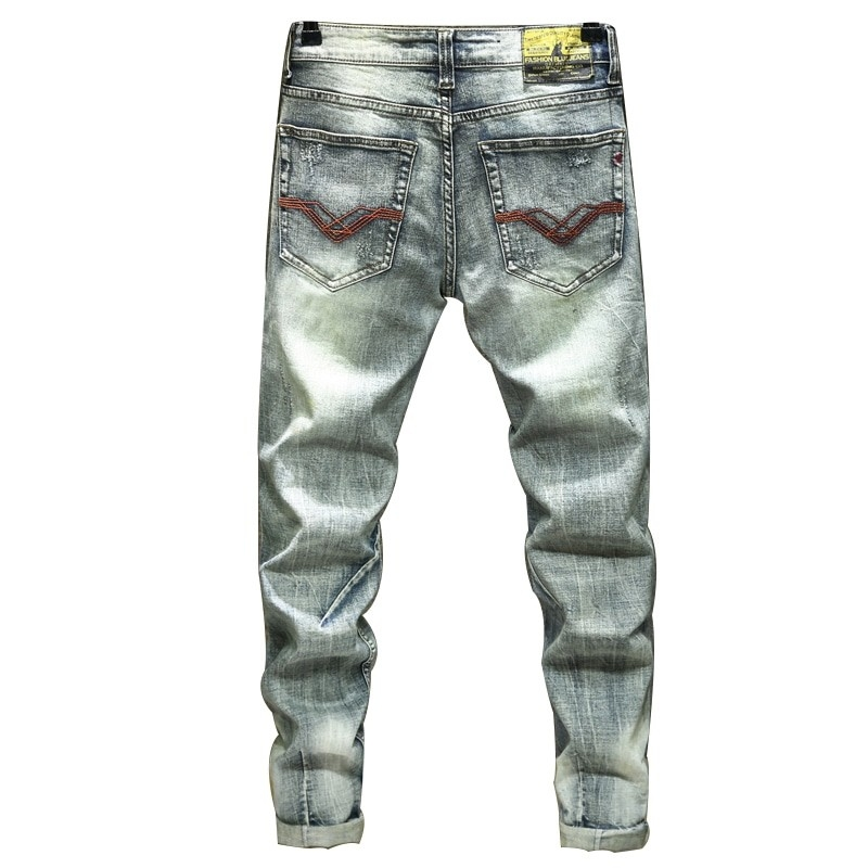 JS-855 Fashionable Slim Fit Vintage Blue Denim Jeans For Men Size 29-38