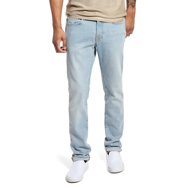 AX-136 Good Quality Light Blue Regular Fit 5 Pockets Jeans For Men