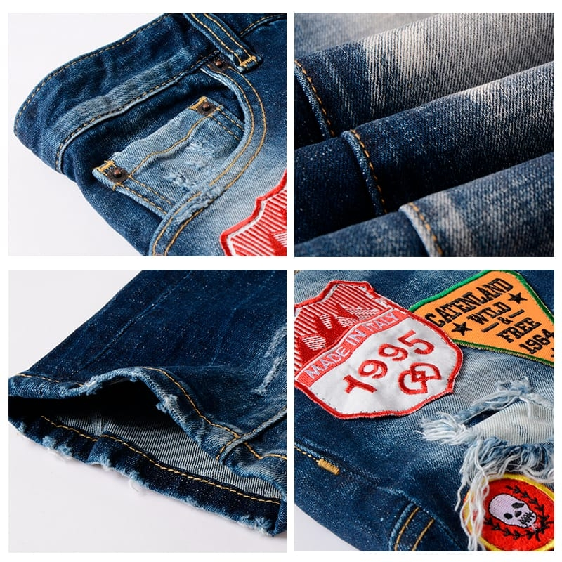 AX-420 Good Quality Medium Blue Ripped Slim Fit Jeans For Men With Patches