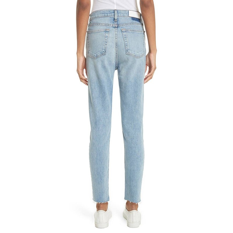 BX-011 Hot-selling Fashionable Slim Fit Basic Design Ice Blue Jeans For Women