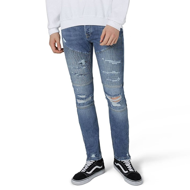 AX-108 Fashion Ripped Stretch Slim Fit Biker Jeans For Men