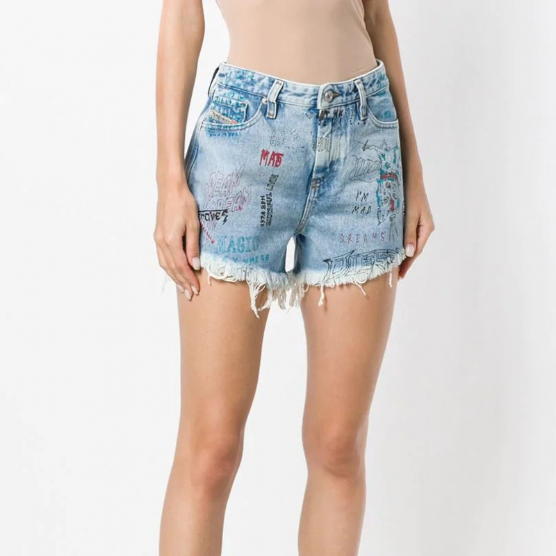 BD-015 Fashionable Printed Light Blue Denim Shorts For Women
