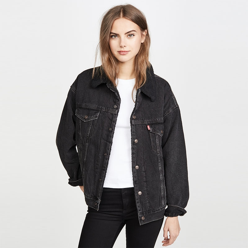 JC-673 Custom make simple style women black denim jacket with fleece