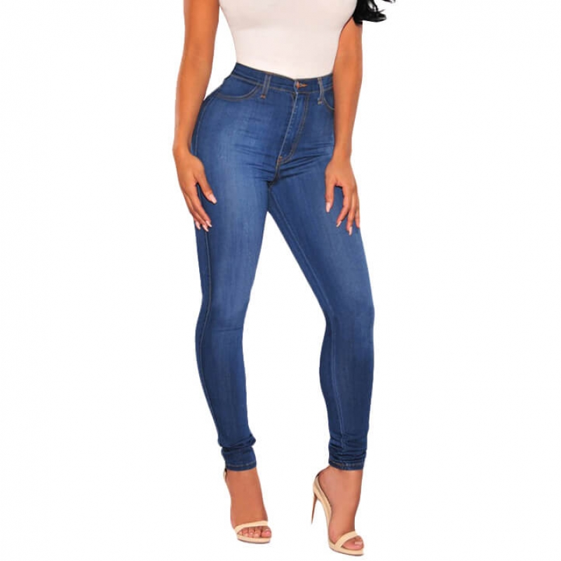 YP-105 Good Quality American Style High Waist Skinny Basic Women Jeans Wholesale