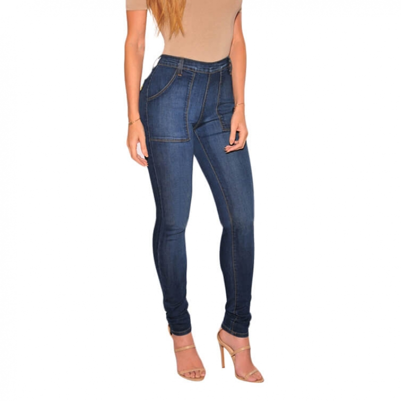 YP-114 Wholesale Fashion Stretch Patch Pocket High Waist Skinny Denim Pants For Women