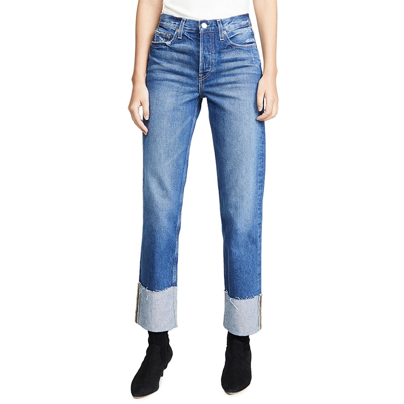 TC-888 Custom None Stretch Women Boyfriend Cut Rolled Jeans Denim Pants