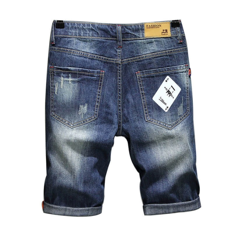 BL318 Casual Men's Ripped Hole Destroyed Denim Jeans Short Printed Jeans Short Pants Size 29-38