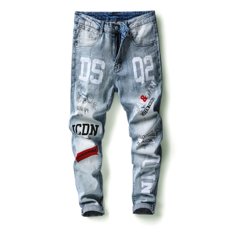 DQ-1116 Fashion Ripped Printed Light Blue Skinny Fit Denim Jeans For Men 29-38
