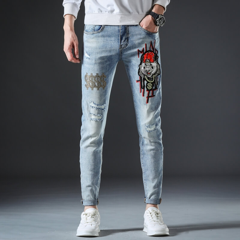 DQ-1118 Fashionable Ripped Printed Stretch Denim Jeans For Men Light Blue Color Skinny Fit Pants Size 29-38