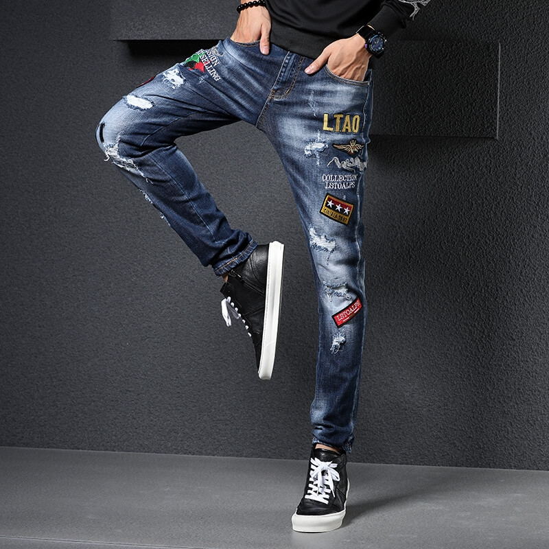 LH-801 Men Dark Blue Fashion Patched Skinny Fit Ripped Denim Jeans size 29-38