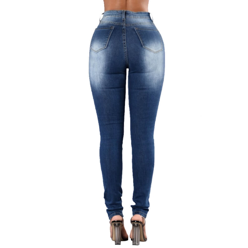 YP-145 Dark blue distressed skinny fit jeans pants for woman size S-2XL
