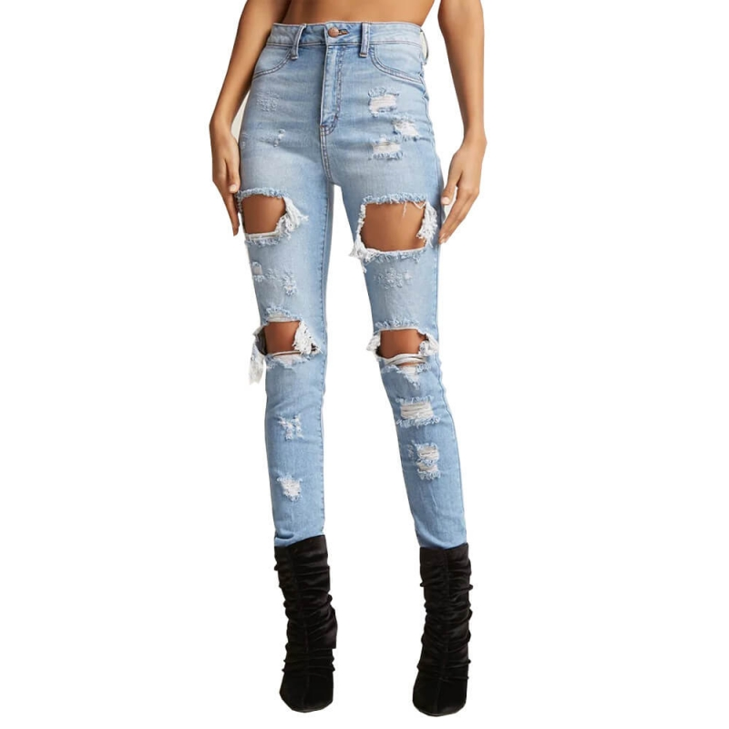 YP-W005 Fashion Light Blue Ripped Skinny Denim Jeans For Women Size S-XXL