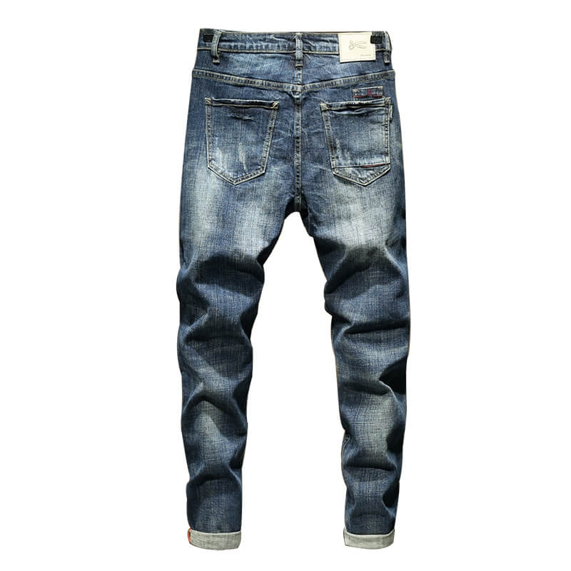 PG-825 Vintage Blue Destroyed High Quality Fashion Skinny Fit Denim Jeans Pants For Men Size 29-38