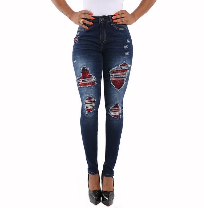 YP-CK009-2 Good Quality Fashion Denim Pants Dark Blue Ripped Skinny Fit Women Jeans With Cover size S-XXL