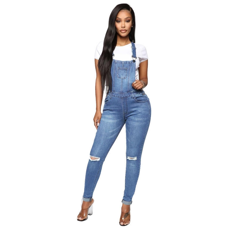 YP-9011 Fashion Ripped Skinny Fit Denim Overalls For Women Dark Blue And Light Blue Available S-XXL