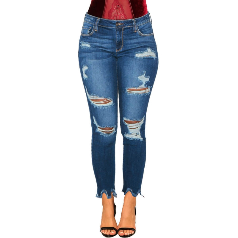 YP-6038 Good Quality New Fashion Ripped Design Women Stretch Skinny Fit Distressed Jeans size S-XXL
