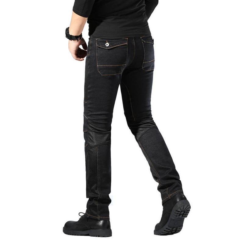 MK-816 Good Quality Regular Fit Black Biker Denim Jeans size M-4XL