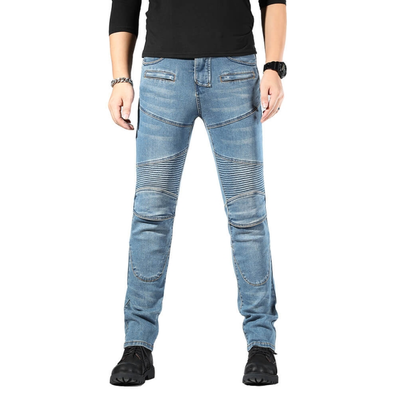 MK-816-2 Good Quality Slim Fit Vintage Blue Stretch Denim Biker Jeans Pants size M-4XL