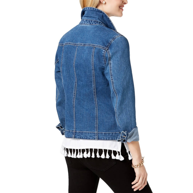 VD-505 High Quality Women Stretch Slim Fit Cropped Button Fly Denim Jacket