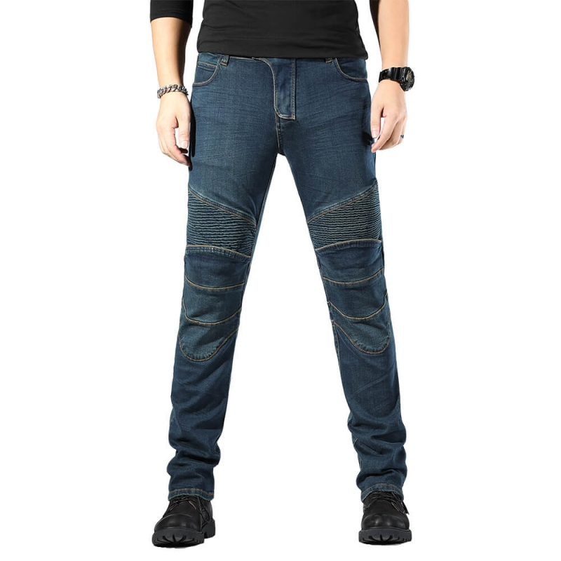 MK-816-3 Good Quality Slim Fit Vintage Dark Blue Stretch Denim Biker Pants M-4XL
