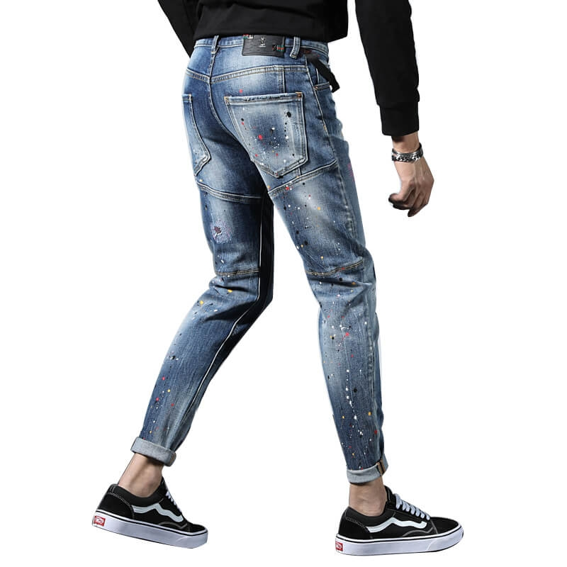 TC-022 High Quality Italian Fashion Skinny Fit Hand Painted Jeans Pants For Men 28-38