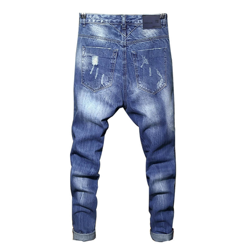 FC-017 Fashion Tapered Slim Fit None Stretch Men Ankle Length Ripped Hole Jeans