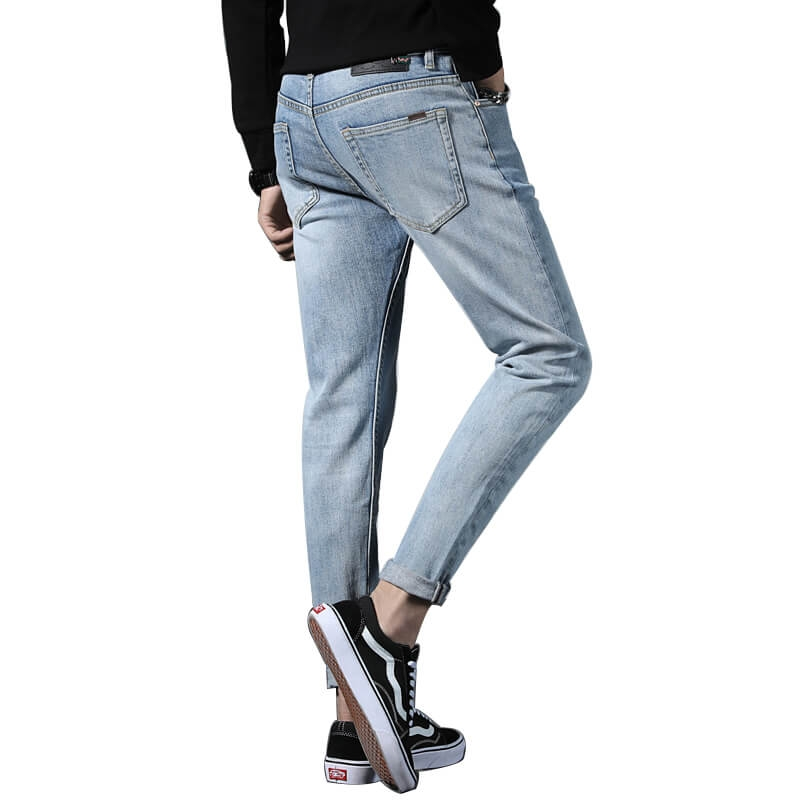 TC-024 Wholesale Fashion Cotton Stretch Light Blue Skinny Jeans Pants For Men 28-38