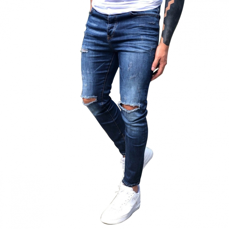 FC-010 Factory Direct Sale New Designs Fashion Ripped Skinny Denim Jeans For Men