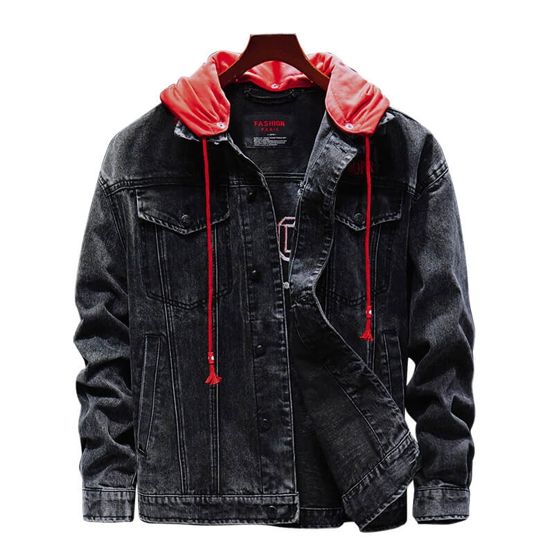 XD-8106 Custom Slim Fit Printed Black Denim Jacket With Hood