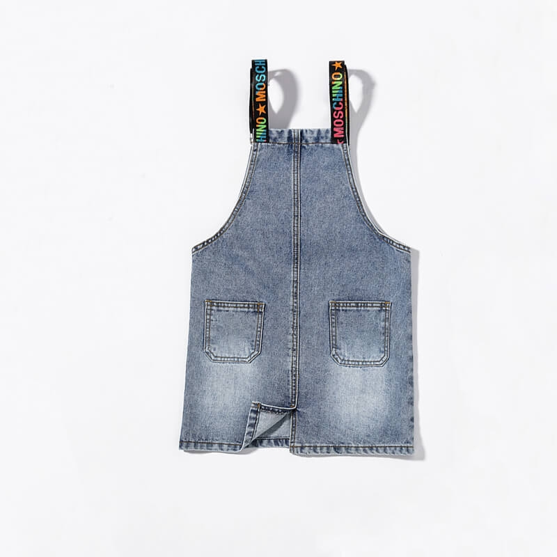 HX-5620 Wholesale Fashion Ice Blue Suspender Overall Denim Sirt For Girl S-2XL