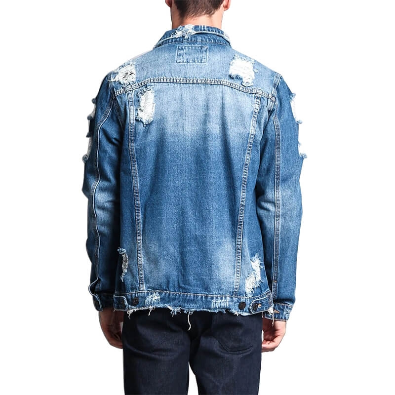 DS-022 Factory Direct Sale Men Vintage Blue Ripped Denim Jacket Slim Fit