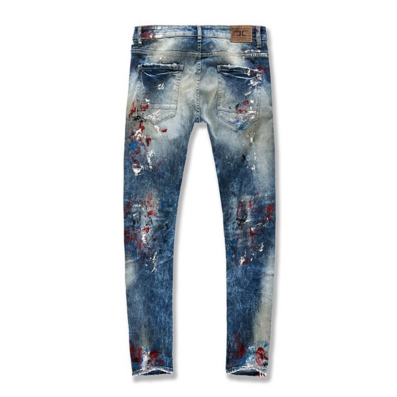SP01 High Quality Stretch Material Hand Paint Ripped Skinny Jeans With Side Stripe